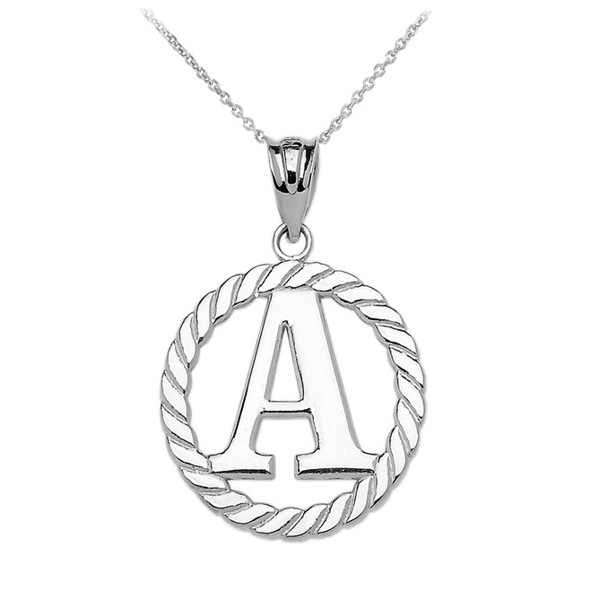 "White Gold ""A"" Initial in Rope Circle Pendant Necklace"