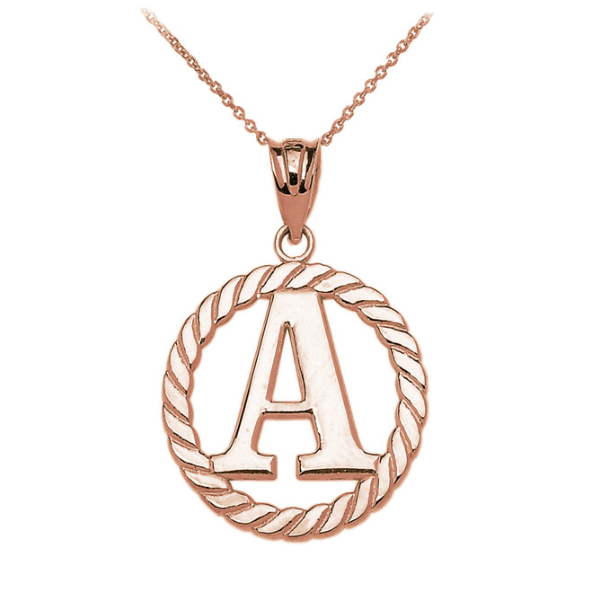 "Rose Gold ""A"" Initial in Rope Circle Pendant Necklace"