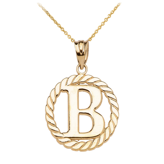 "Yellow Gold ""B"" Initial in Rope Circle Pendant Necklace"