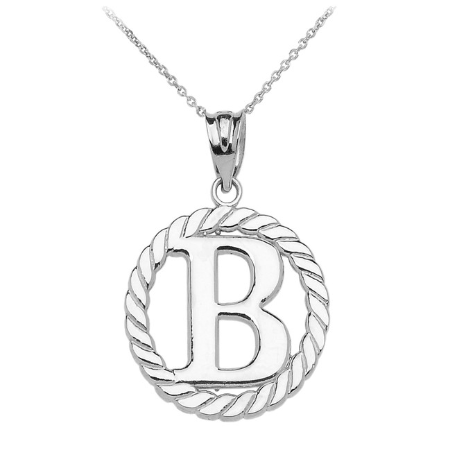 """White Gold """"B"""" Initial in Rope Circle Pendant Necklace"""