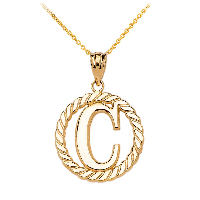 "Yellow Gold ""C"" Initial in Rope Circle Pendant Necklace"
