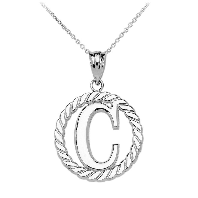 """White Gold """"C"""" Initial in Rope Circle Pendant Necklace"""