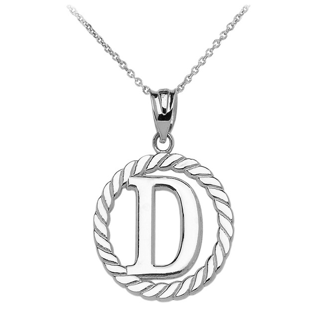 """White Gold """"D"""" Initial in Rope Circle Pendant Necklace"""