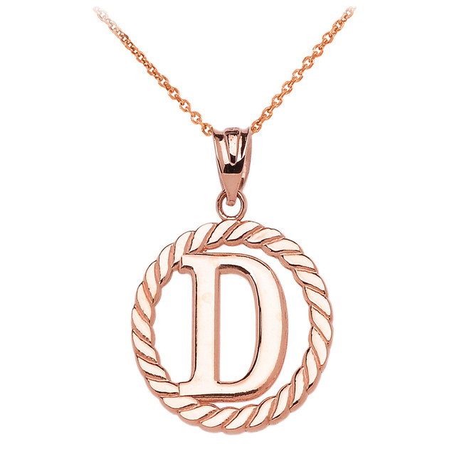 """Rose Gold """"D"""" Initial in Rope Circle Pendant Necklace"""