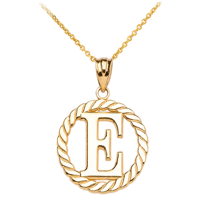 "Yellow Gold ""E"" Initial in Rope Circle Pendant Necklace"