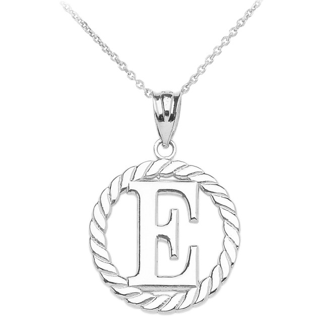 "White Gold ""E"" Initial in Rope Circle Pendant Necklace"