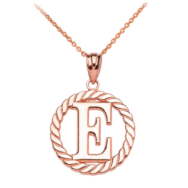 "Rose Gold ""E"" Initial in Rope Circle Pendant Necklace"