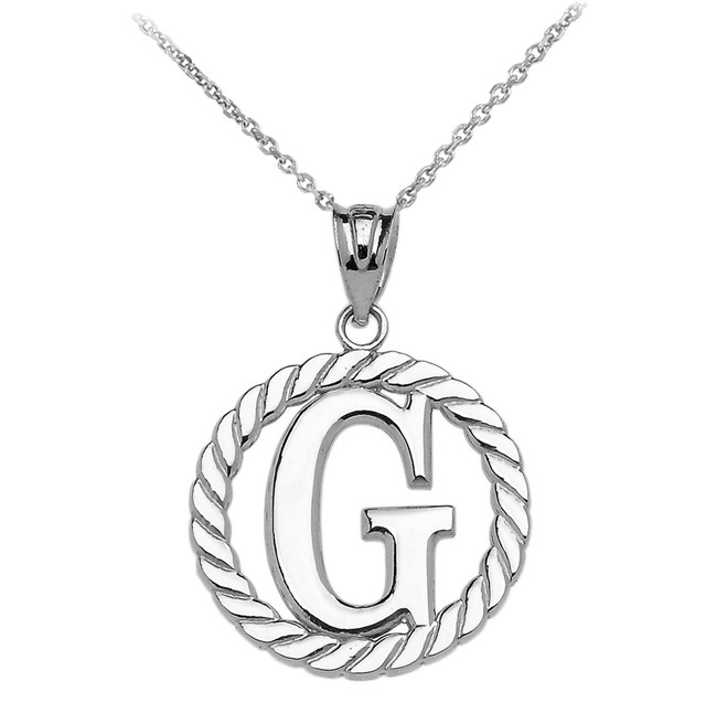 """White Gold """"G"""" Initial in Rope Circle Pendant Necklace"""