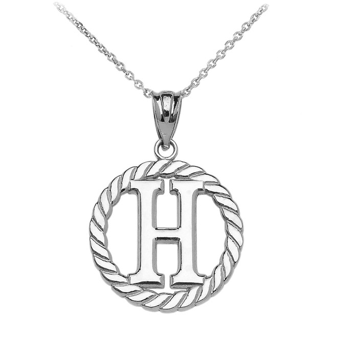 "White Gold ""H"" Initial in Rope Circle Pendant Necklace"