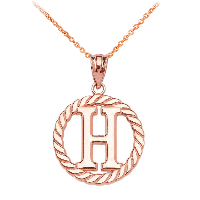 "Rose Gold ""H"" Initial in Rope Circle Pendant Necklace"
