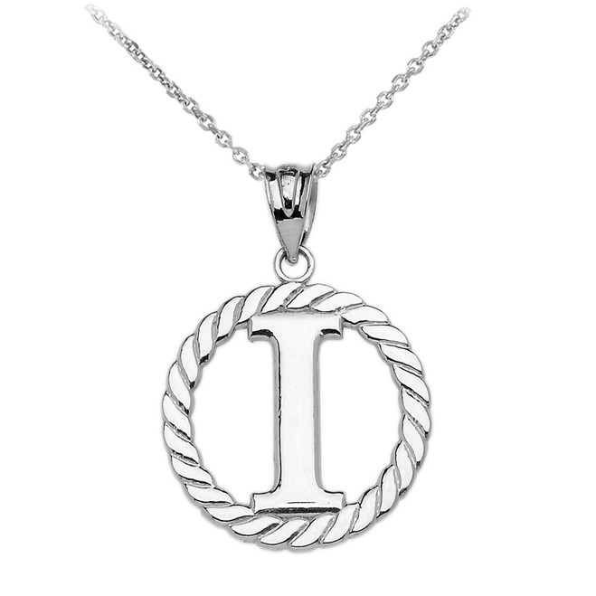 """White Gold """"I"""" Initial in Rope Circle Pendant Necklace"""