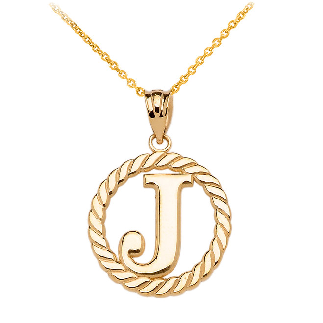 "Yellow Gold ""J"" Initial in Rope Circle Pendant Necklace"