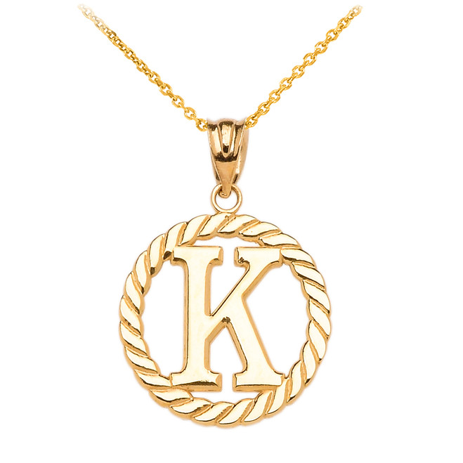 "Yellow Gold ""K"" Initial in Rope Circle Pendant Necklace"