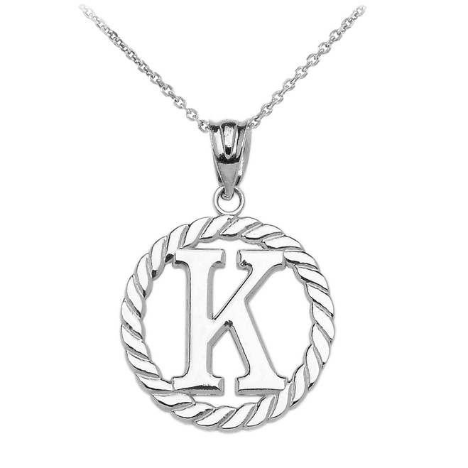 "White Gold ""K"" Initial in Rope Circle Pendant Necklace"