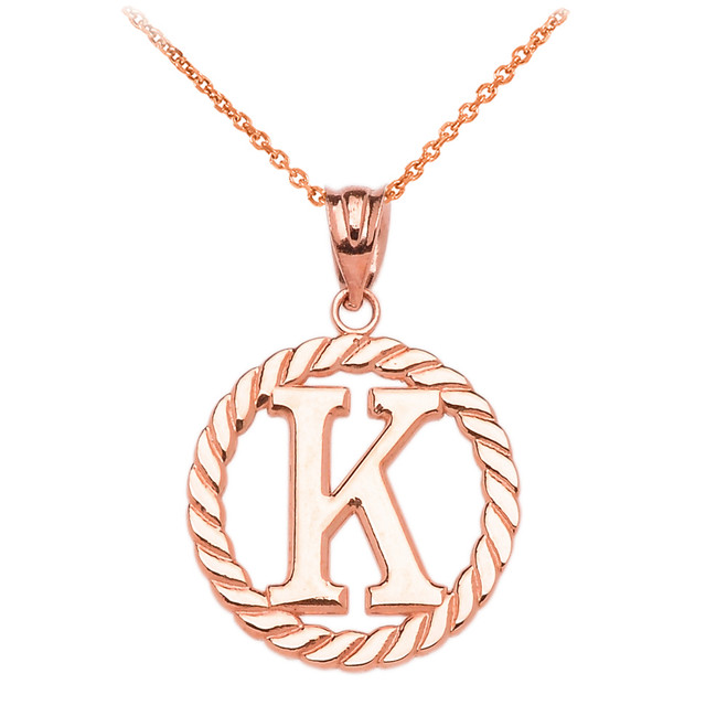 "Rose Gold ""K"" Initial in Rope Circle Pendant Necklace"
