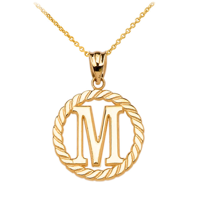 "Yellow Gold ""M"" Initial in Rope Circle Pendant Necklace"