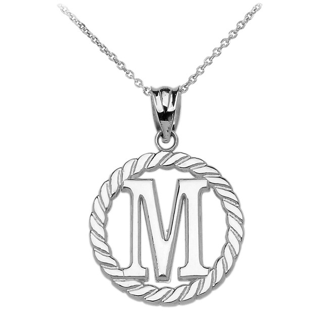 "White Gold ""M"" Initial in Rope Circle Pendant Necklace"