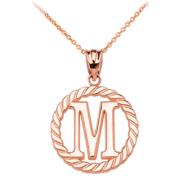 "Rose Gold ""M"" Initial in Rope Circle Pendant Necklace"
