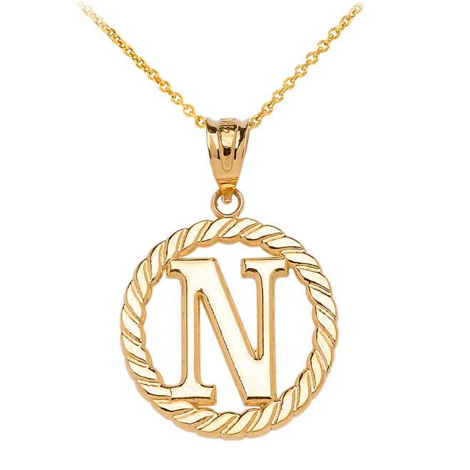 "Yellow Gold ""N"" Initial in Rope Circle Pendant Necklace"