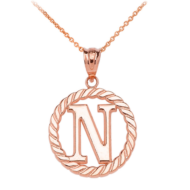 """Rose Gold """"N"""" Initial in Rope Circle Pendant Necklace"""