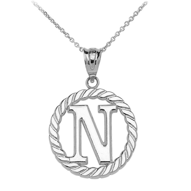 "Sterling Silver ""N"" Initial in Rope Circle Pendant Necklace"
