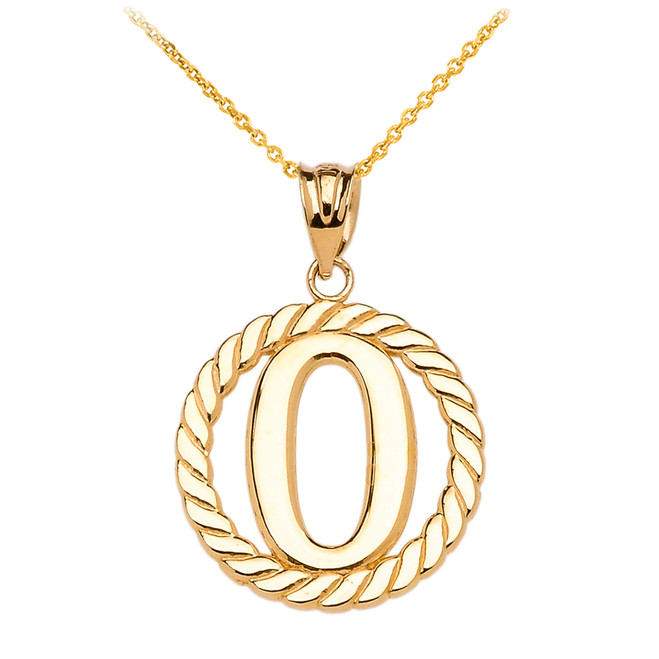 "Yellow Gold ""O"" Initial in Rope Circle Pendant Necklace"