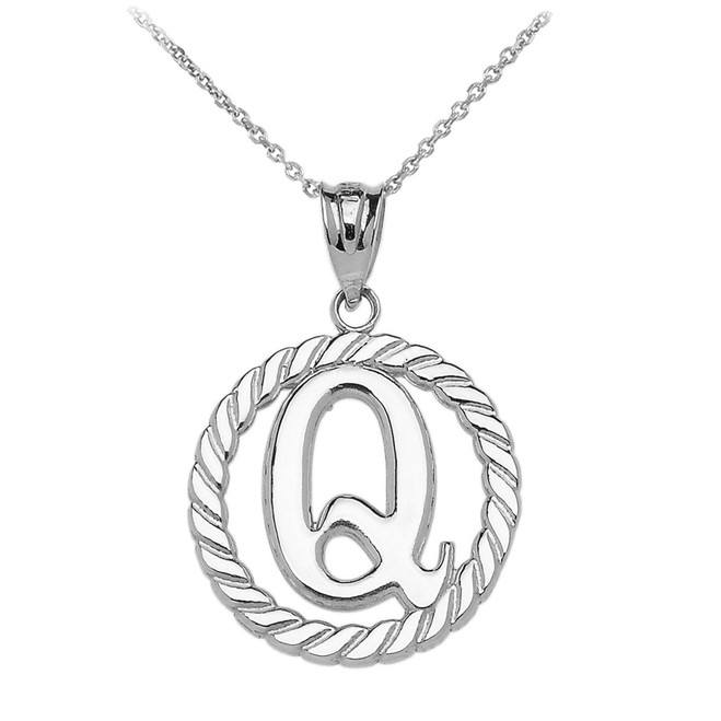 "Sterling Silver ""Q"" Initial in Rope Circle Pendant Necklace"