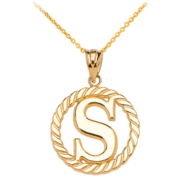"Yellow Gold ""S"" Initial in Rope Circle Pendant Necklace"