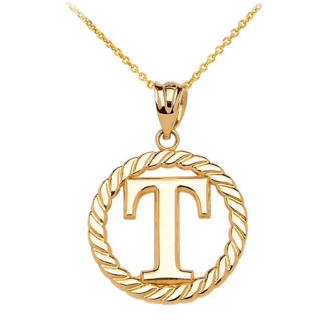 "Yellow Gold ""T"" Initial in Rope Circle Pendant Necklace"