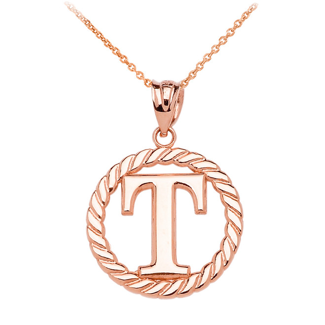 """Rose Gold """"T"""" Initial in Rope Circle Pendant Necklace"""