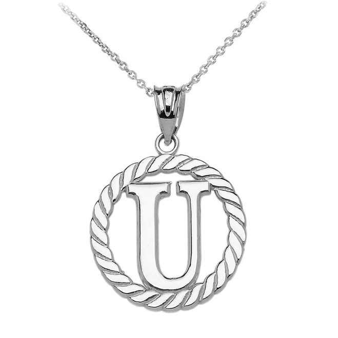 "White Gold ""U"" Initial in Rope Circle Pendant Necklace"
