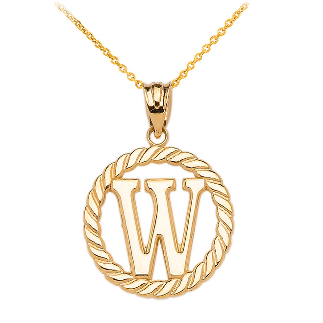 "Yellow Gold ""W"" Initial in Rope Circle Pendant Necklace"