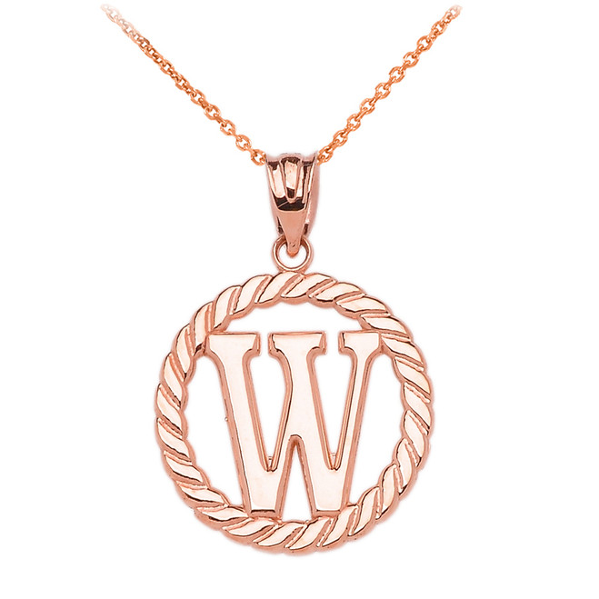 "Rose Gold ""W"" Initial in Rope Circle Pendant Necklace"