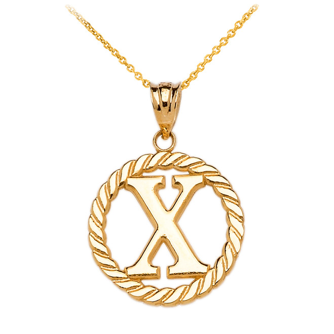"Yellow Gold ""X"" Initial in Rope Circle Pendant Necklace"