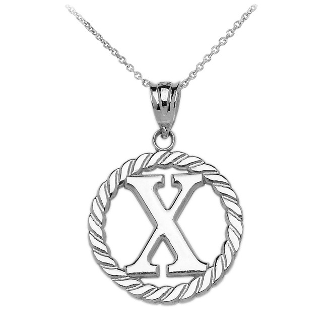 "White Gold ""X"" Initial in Rope Circle Pendant Necklace"
