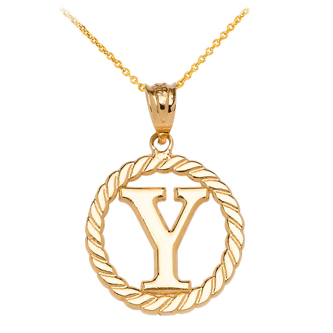 """Yellow Gold """"Y"""" Initial in Rope Circle Pendant Necklace"""