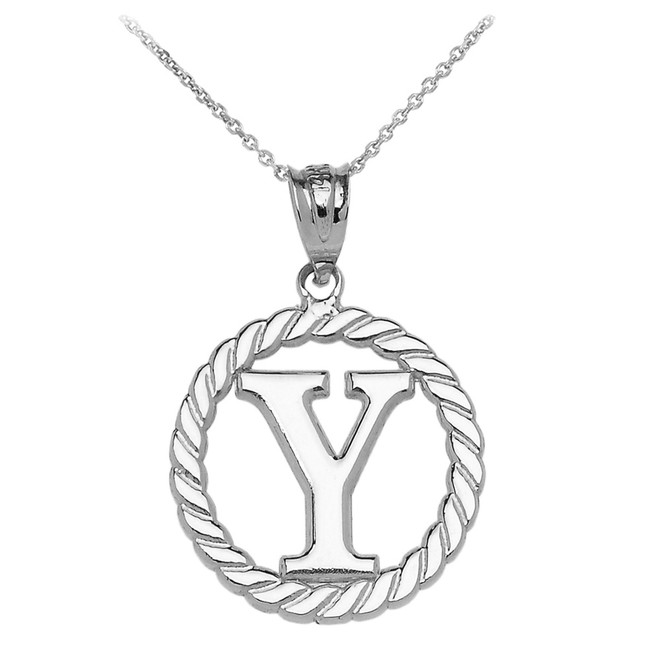 """Sterling Silver """"Y"""" Initial in Rope Circle Pendant Necklace"""