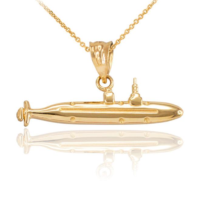 Polished Gold Submarine Boat Pendant Necklace