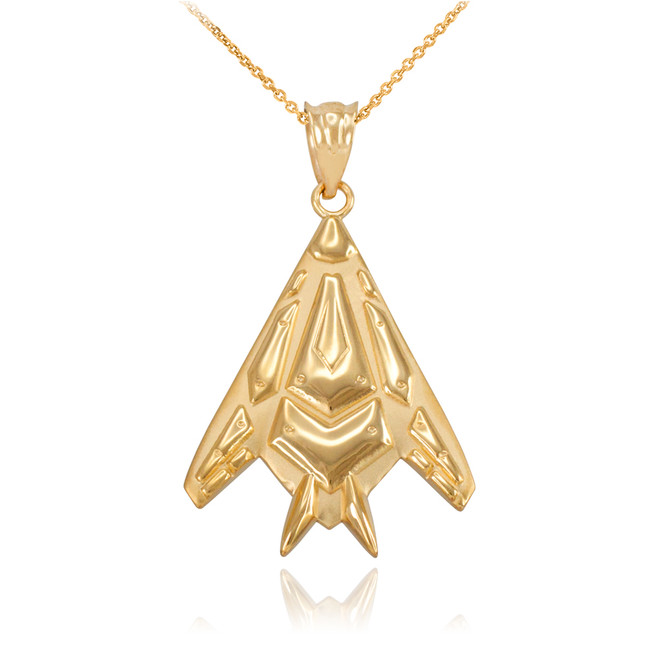 Yellow Gold Military Stealth Pendant Necklace