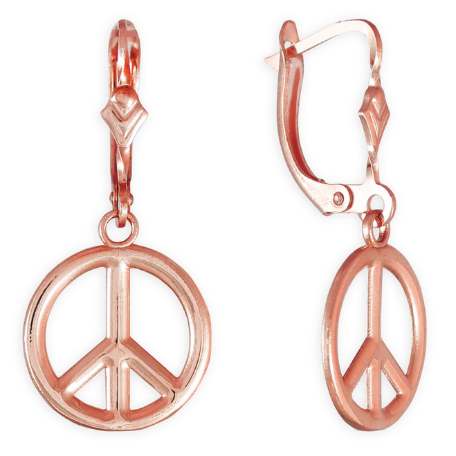 14K Rose Gold Peace Symbol Earrings