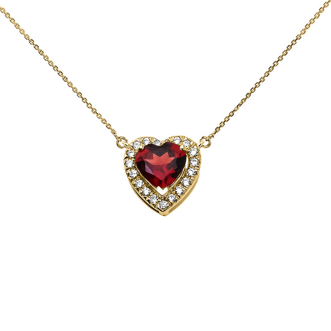 Elegant Yellow Gold Diamond and January Birthstone Heart Solitaire Necklace