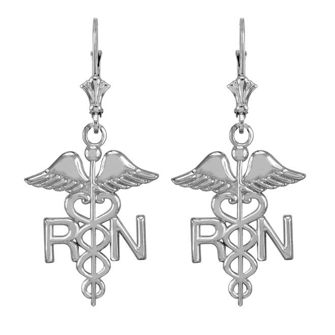 Sterling Silver Medical Registered Nurse Earrings