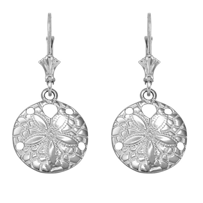 14K White Gold Sand Dollar Earrings