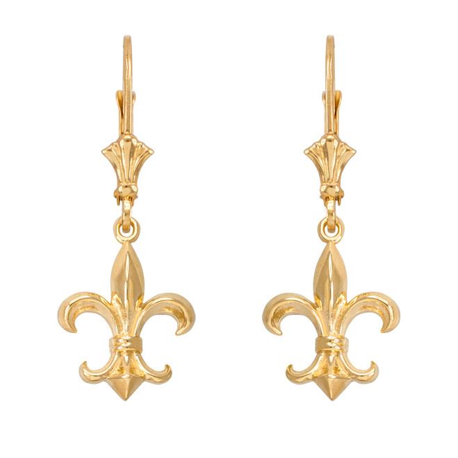 14k Yellow Gold Fleur-de-Lis Earrings