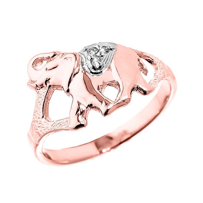 Elegant Rose Gold Diamond Elephant Ring