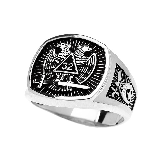 Sterling Silver Shriners Freemason Masonic Men's Ring