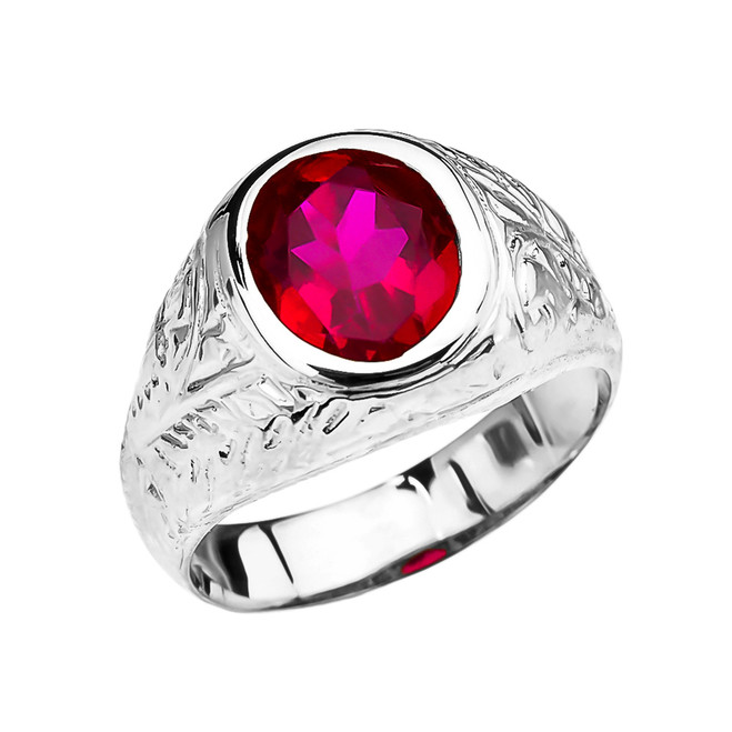 Men's White Gold Engraved Design Red CZ Solitaire Ring