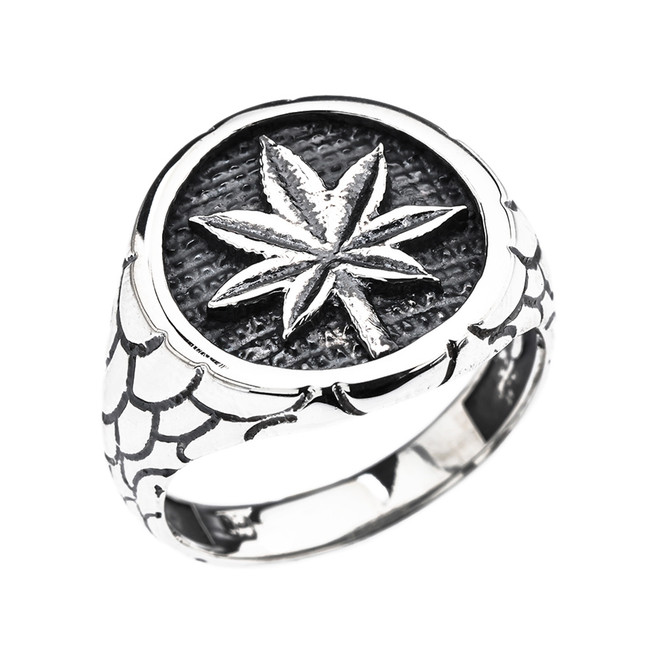 Men's Sterling Silver Marijuana Leaf Cannabis Nugget Band Ring