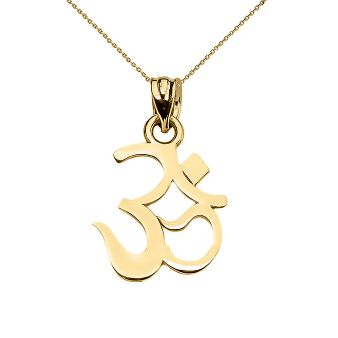 OHM (OM) Ganesh Pendant Necklace in Yellow Gold