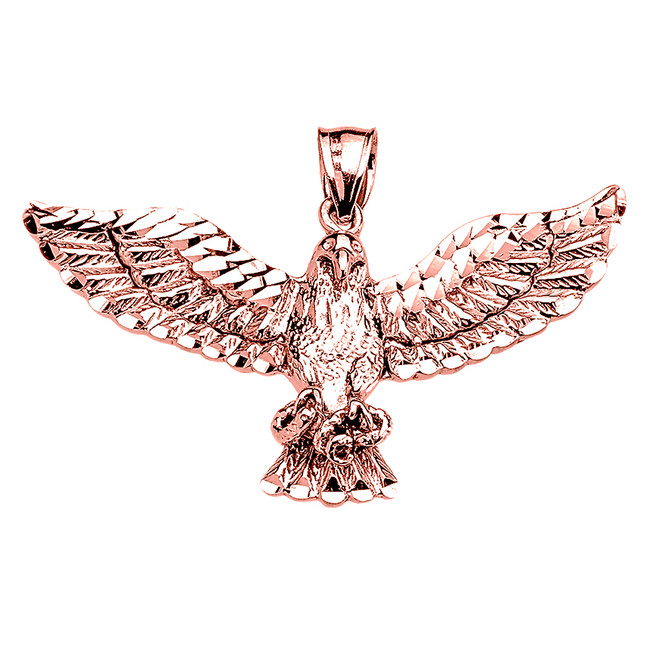 Rose Gold American Bald Eagle Pendant